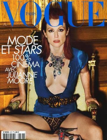 Julianne Moore'dan 47 yaş pozu  Şu sıralar ülkemizde de gösterimde olan Vahşi Zarafet adlı filmin başrol oyuncus Julianne Moore, Fransız Vogue dergisine verdiği pozlarla şaşırttı.  47 yaşındaki Moore transparan giysisiyle objektif karşısına geçti ve ilerleyen yıllara rağmen hala formundan bir şey kaybetmediğini gözler önüne serdi.